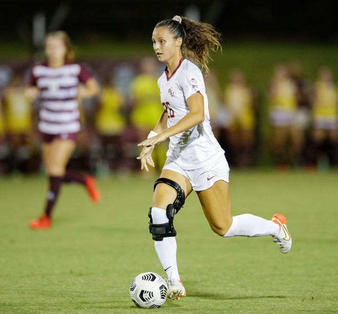 Florida State Seminoles Clara Robbins (26) looks to take a shot in a game against Texas A&M on Thursday, Aug. 19, 2021.