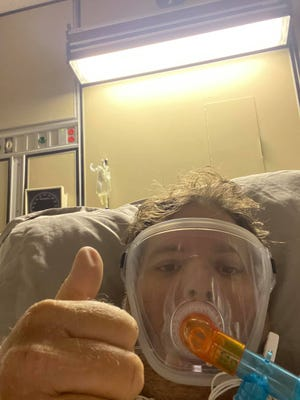 Patrick Price, 42, of Jensen Beach, posted this selfie on his Facebook page Tuesday, Aug. 10, 2021, as he documented his struggle against COVID-19 at Cleveland Clinic Martin North Hospital in Stuart. He died Labor Day, Monday, Sept. 6.