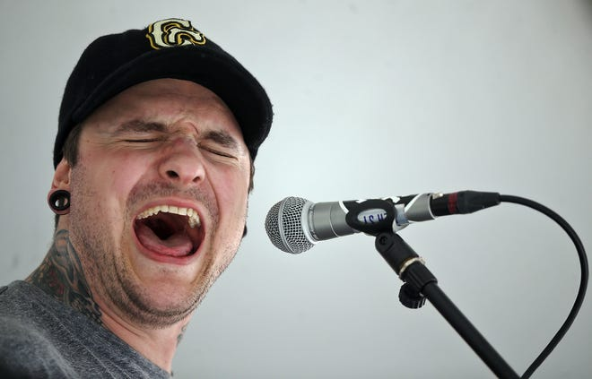 Sam Brody of Stay Gone performs during the 2021 PorchRokr festival Saturday in Akron's Highland Square.