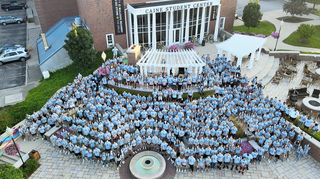 Adrian College's incoming class of 660 new students caps off Welcome Week with an official Class of 2025 group photo taken on the Caine Student Center Terrace. The incoming class is the second largest in the college's 162-year history.
