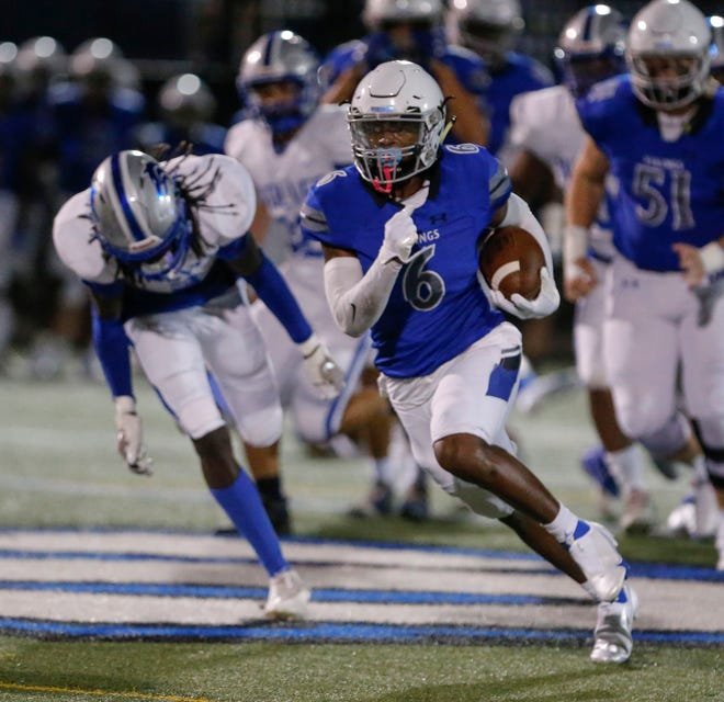 Lakeland Christian's Breylin Smith outraces the opposing defense for a big gain during early-season action. The Vikings have a showdown with rival Frostproof.