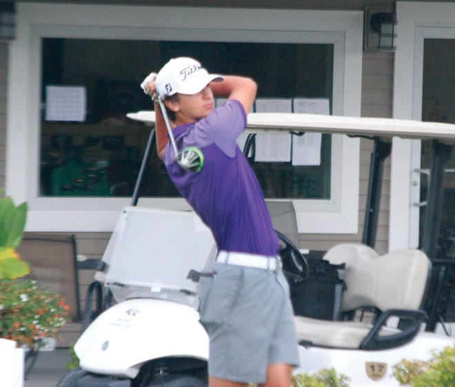 Burlington's Mateo Rascon tees off on the first hole at Macomb Country Club on Saturday, August 21, 2021.