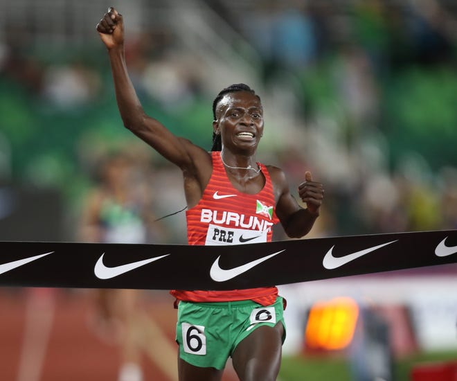 Francine Niyonsaba wins the women's 2-mile at the Prefontaine Classic Friday night.