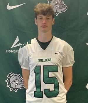 Monrovia senior Trent Hale returned an interception for a touchdown during the Bulldogs 41-12 win over Indianapolis Cardinal Ritter on Friday, Aug. 20, 2021.