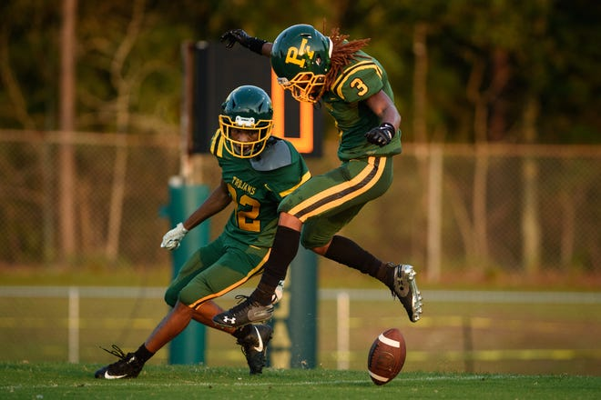 Pine Forest's D'lano Blevins (3) and the Trojans will look to slow down Seventy-First's rushing offense on Friday night at Harold K. Warren Stadium.
