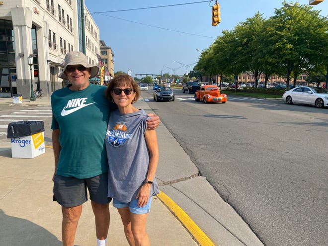 Gary and Vivian Jugan drove 500 miles from their home in south-central Pennsylvania to take in the sights and sounds on Woodward during the Dream Cruise on Saturday, Aug. 21, 2021.
