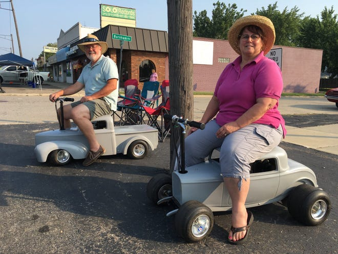 Not all Dream Cruise classics are big, mean machines. Matthew and Linda Scott brought  their 4-horsepower replicas to Woodward in Royal Oak on Saturday, Aug. 21, 2021.