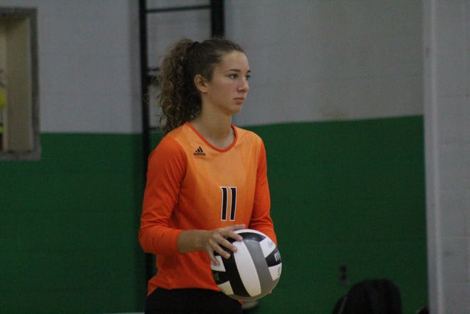 Lucas' Shelby Grover set a program record with 23 kills in a 3-1 win over Plymouth on Thursday.