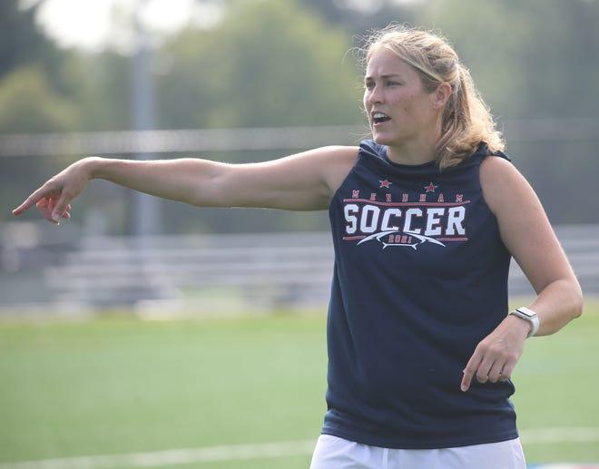 Lindsay Schartner, the new Mendham boys soccer coach during practice on August 21, 2021.