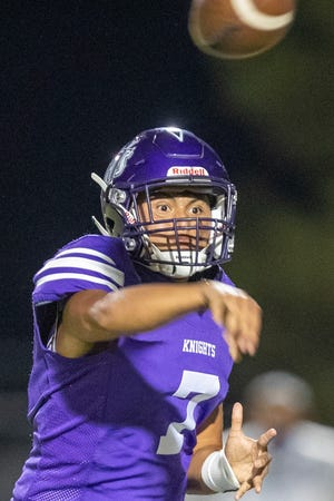 Shadow Hills quarterback Ethan Garcia throws during the Mayor's Cup game in Indio, Calif., on August 20, 2021.