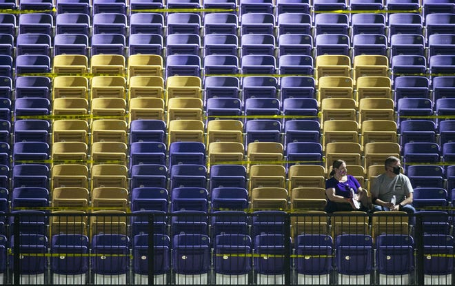Notre Dame Prep fans sit in the stands before the high school football game against Brophy College Prep at Notre Dame Prep in Scottsdale on October 2, 2020.