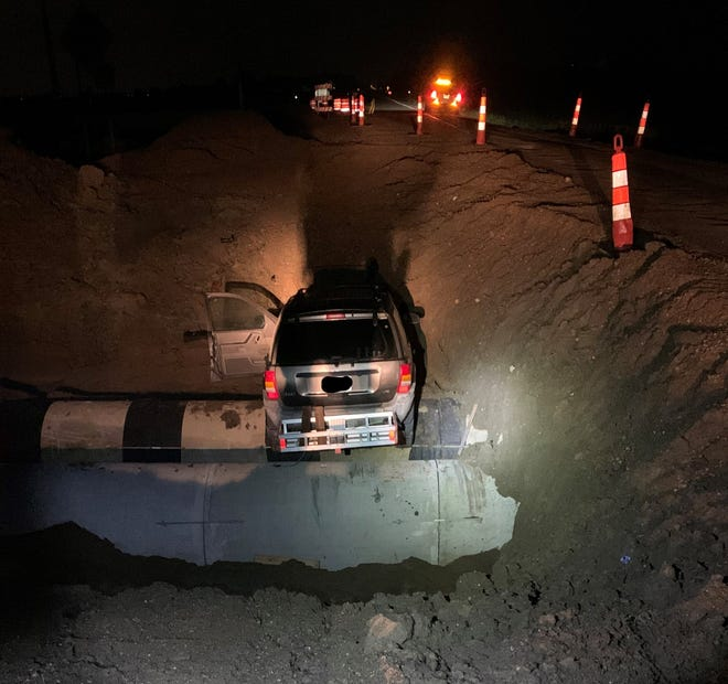 The Lincoln County Sheriff's Office is looking for the driver of a black Jeep Cherokee involved in a crash at a construction site late Friday night.