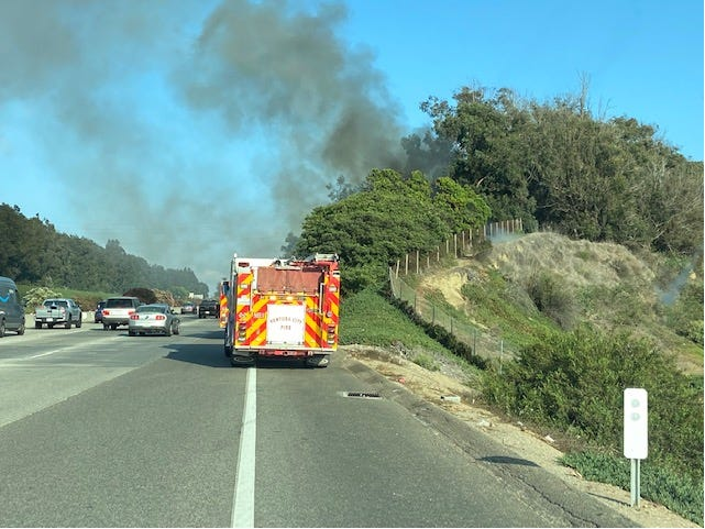 Ventura City Fire crews on southbound Highway 101 south of Seaward Avenue Friday evening.