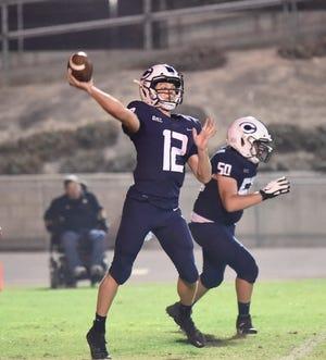 Central Valley Christian's Max Bakker passes against Bakersfield Christian in Visalia on August 20, 2021