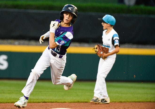 Wylie Little League Cason Parrish (13) runs off of second base against Eastlake Little League at the 2021 Little League World Series in South Williamsport, Pa., on Friday.