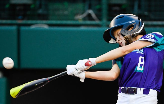 Wylie Little League Ella Bruning (8) hits the ball against Eastlake Little League at the 2021 Little League World Series  in South Williamsport, Pa., on Aug. 20, 2021.