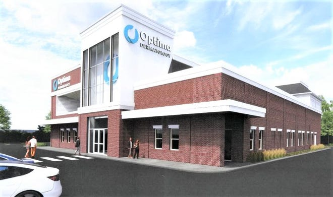 This rendering shows what the proposed Optima Dermatology office building in the Crossings at Golden Link could look like.