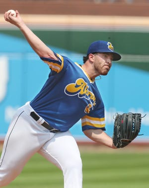 Cleveland pitcher Aaron Civale made a rehab start for the RubberDucks on Wednesday night at Canal Park. [Jeff Lange/Beacon Journal]
