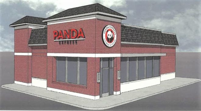 This rendering shows what a Panda Express fast-food restaurant would look like at the former Golden Corral site.