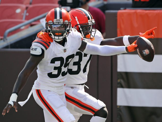 Browns safety Richard LeCounte III (39) has shown a nose for the football during training camp. The rookie from Georgia is looking forward to playing in front of his family when the Browns play the Atlanta Falcons on Sunday night in Atlanta. [Jeff Lange/Beacon Journal]