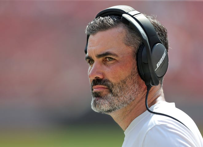 Cleveland Browns head coach Kevin Stefanski watches from the sideline during the second half of an NFL preseason football game against the New York Giants, Sunday, Aug. 22, 2021, in Cleveland, Ohio. [Jeff Lange/Beacon Journal]