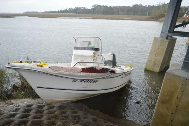 This photo, taken by the Beaufort County Coroner, shows the Sea Hunt the morning after the crash.