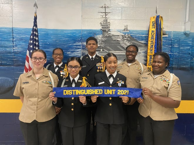 The WHHS NJROTC Unit Leadership includes (L-R): Front - Cadet PO2 Bianca Colyn, Cadet LCDR and Commanding Officer Gwyne Lacanin, Cadet Ensign Dani-Lea Pennington, and Cadet PO2 Tiarrah Broxton; Rear- Cadet Ensign Sheri Henderson, Cadet LT Jacob Riley, and Cadet PO2 Audrey Gourdine.