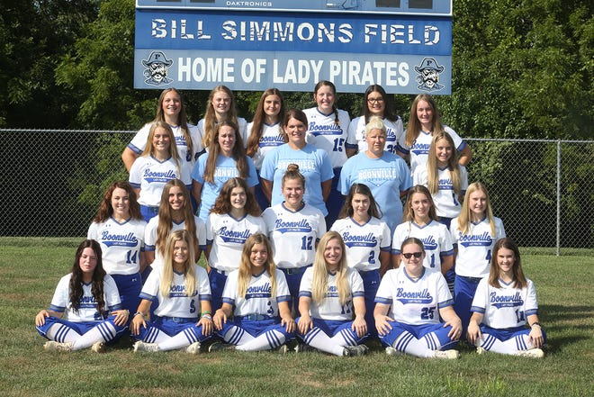 Boonville Lady Pirates softball team (front row, left to right) Mattie Wells, Bayleigh Warren, Carlie Bishop, Jordyn Fuemmeler, Lexie Lane, and Casey Bedell. (second row, left to right) Gracey Rose, Rachel Maddex, Shelby Robb, Emma West, Lexi Maddex, Faith Mesik, and Olivia Eichelberger. (third row, left to right) Josie Widel, assistant coach Caitlin Pendergraft, head coach Christie Zoeller, assistant coach Amanda Rhorer, and Alison Eichelberger. (back row, left to right) Mia Eckerle, Allison Drummond, Cora Thompson, Abby Pulliam, Sophie Zoeller, and Lillian Newham.