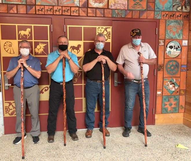 Veterans recognized at the Beyond the Yellow Ribbon Ceremony were Greg Newhouse, Oscar Meyer, Bob Blazek and Paul Henre
