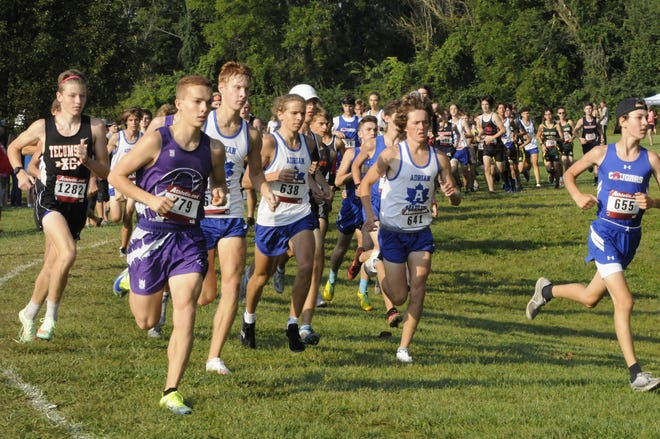 From left, Tecumseh's Ethan Leitner, Onsted's Brody Amthor, Adrian's Bryce Soule, Braylon Petty and Aiden Smith, along with Lenawee Christian's Nathan Daniels, run during the Lenawee County Preview Saturday morning at Tecumseh.