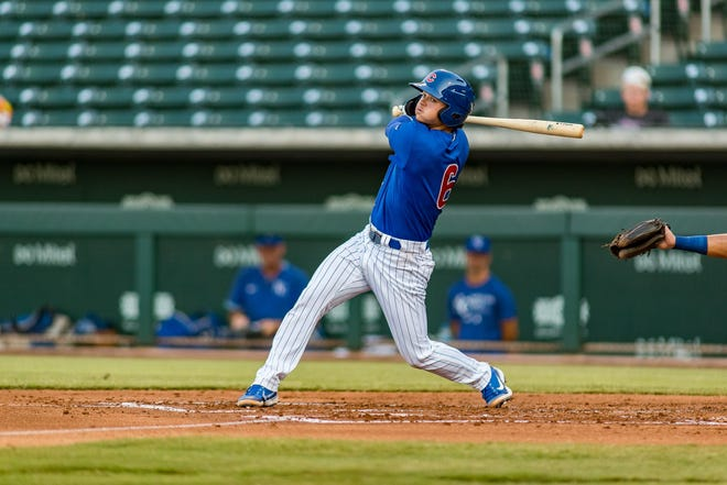 St. Mary Catholic Central graduate Bryce Windham swings at a pitch during a minor-league game in Arizona earlier this month.
