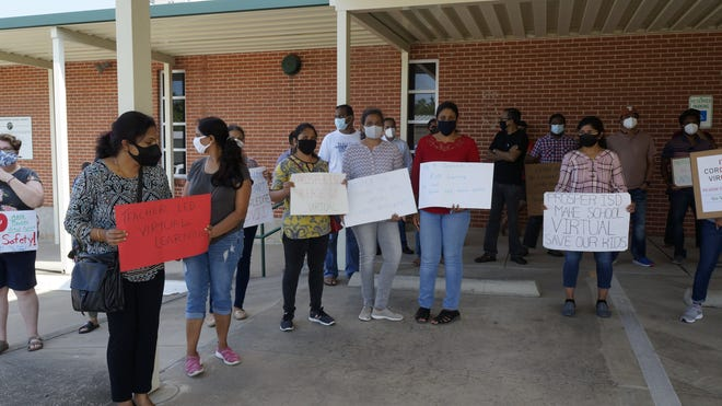 Prosper parents met Friday to protest not having a virtual school option for student ineligible for a COVID-19 vaccine.