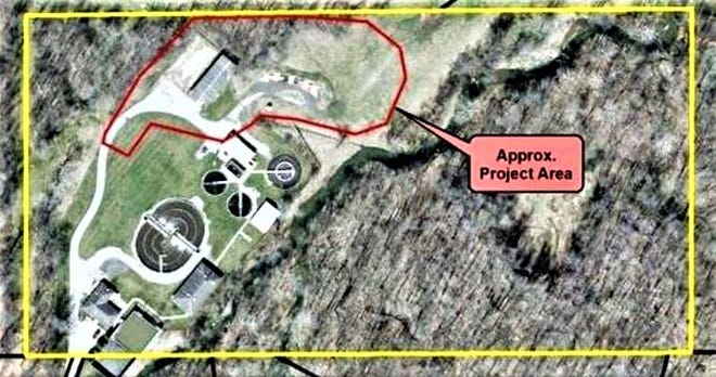 The area surrounded with a red line shows where construction will take place at the Central Wastewater Treatment Plant. The project is estimated to cost more than $9 million.
