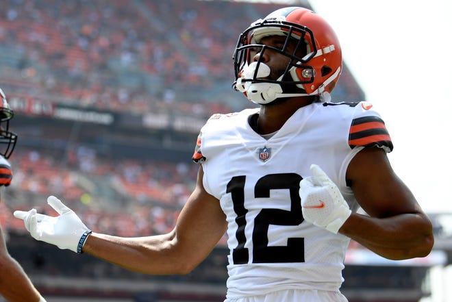 Wide receiver KhaDarel Hodge was among the biggest name players cut by the Browns to get their roster down to 53 on Tuesday. [David Dermer/Associated Press]