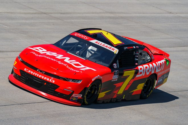 Justin Allgaier in action during a NASCAR Xfinity Series auto race at Dover International Speedway on May 15, 2021, in Dover, Del.