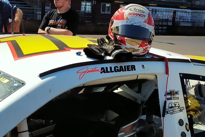 Riverton native Justin Allgaier's name adorns the No. 16 Chevrolet he drove in Sunday's Allen Crowe 100 at the Illinois State Fairgrounds' Springfield Mile. Allgaier drove in place of Springfield's Kelly Kovski. Allgaier is a regular driver on the NASCAR Xfinity Series.