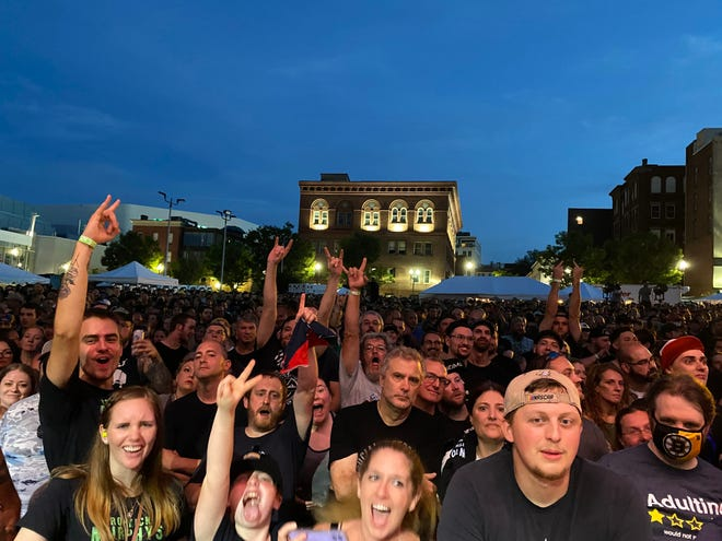 The crowd outside the Palladium Saturday for the Dropkick Murphys and Rancid concert.