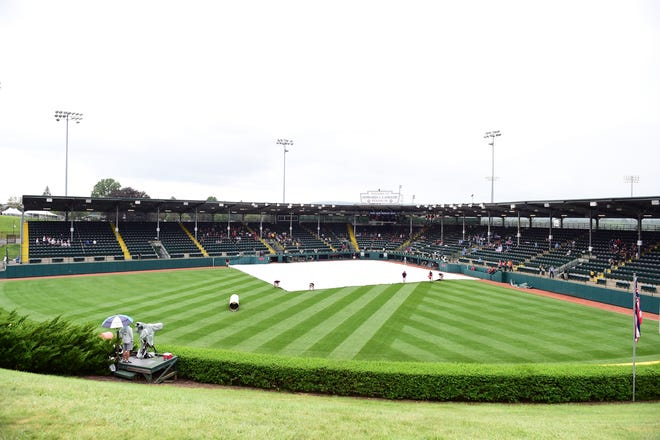 A general view of the field during a rain delay at Howard J. Lamade Stadium.