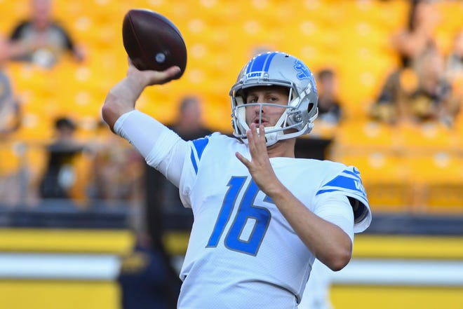 Detroit Lions quarterback Jared Goff (16) warms up before an NFL preseason football game.
