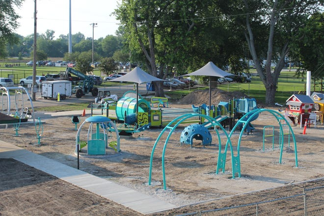 The community build portion of the Kiwanis Club of Fremont's new all-inclusive play park at Rodger Young Park is done, with the group now looking ahead toward the installation of the play area's flooring surface at the beginning of September. This photo was taken Friday at the park.
