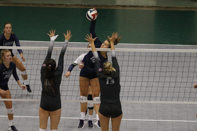 UP's Zoe Naugle registers a kill for the Lady Argos in this undated photo from the UPArgos.com website. She and teammate Sadie Lott rammed home 11 kills each as No. 14 Providence swept eighth-ranked Grand View Saturday at the Big Sky Challenge in Butte.