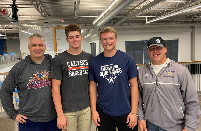 Great Falls Chargers pitcher/1st baseman Cam McNamee (center left) was named to Montana's American Legion Baseball All-State Team, while infielder Kael Richards (center right) earned All-Conference honors from the 2021 season. Pictured with the players are coach Ed McNamee (left) and manager Tony Forster.