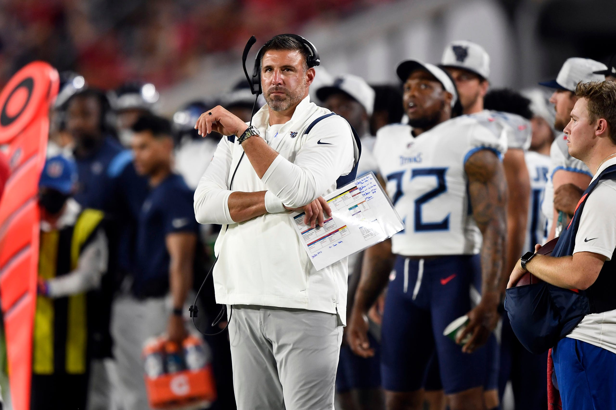 Tennessee Titans head coach Mike Vrabel watches over his team during the first quarter of an NFL preseason game against the Buccaneers at Raymond James Stadium Saturday, Aug. 21, 2021 in Tampa, Fla.