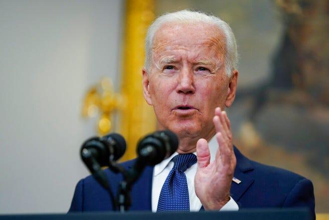 President Joe Biden speaks about Hurricane Henri and Afghanistan evacuations in the Roosevelt Room of the White House, Sunday, Aug. 22, 2021, in Washington. (AP Photo/Manuel Balce Ceneta)