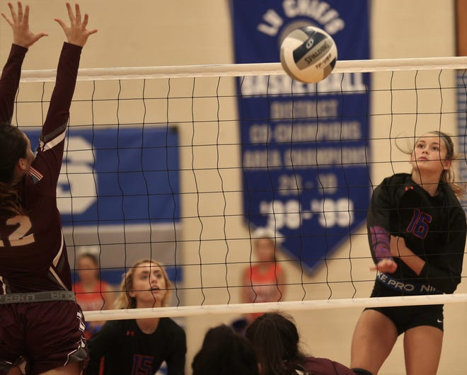San Angelo Central High School's Emilee Sikora, 16, puts up a shot against Bronte at the Nita Vannoy Memorial Volleyball Tournament in San Angelo on Saturday, Aug. 21, 2021.