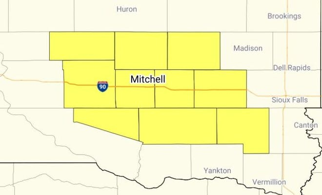 Tornado watch issued until 10 p.m., Aug. 22, 2021, for the area in yellow