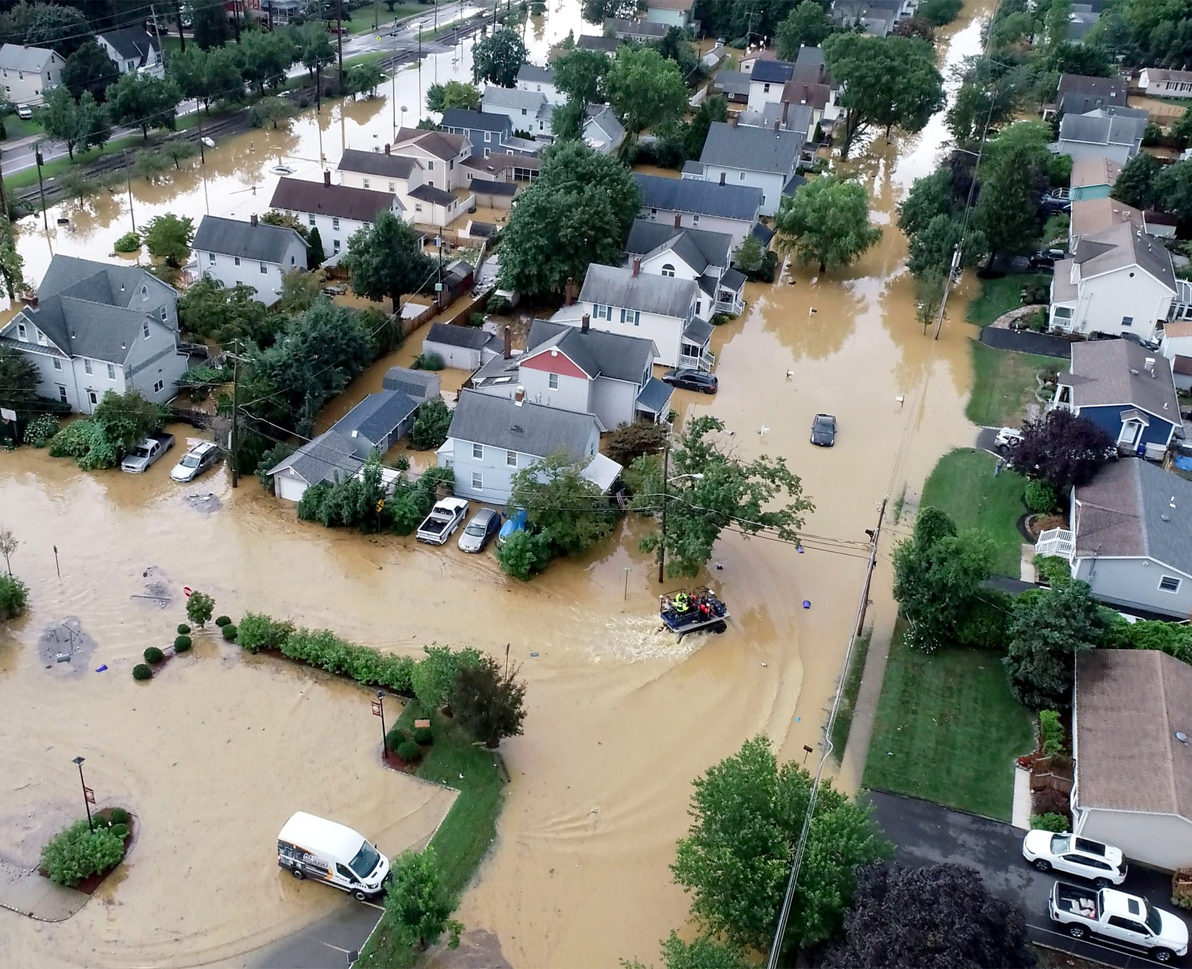 Overnight heavy rains left John Street in Helmetta, N.J. flooded Sunday afternoon, August 22, 2021.