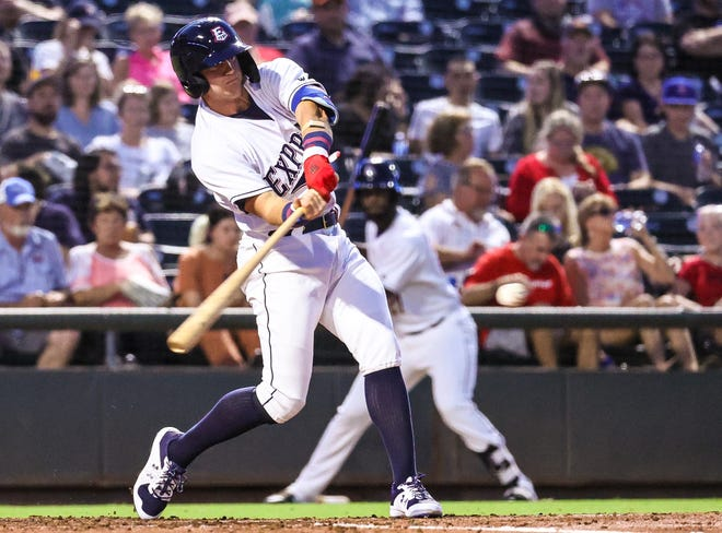 Josh Jung drives the ball during Round Rock's 6-1 loss to the El Paso Chihuahuas on Friday. The Texas Rangers' No. 1 hitting prospect was recently called up to the Express from Double-A Frisco.