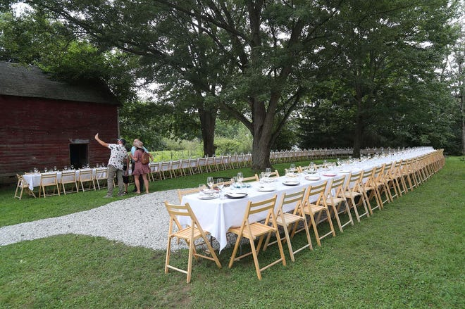 The table is set for the Outstanding in the Field dinner Aug. 19 at Thaxton's Organic Garlic farm in Hudson.