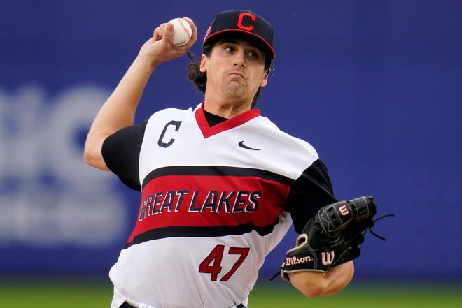 Cleveland starting pitcher Cal Quantrill delivers during the first inning of the Little League Classic baseball game against the Los Angeles Angels at Bowman Stadium in Williamsport, Pa., Sunday, Aug. 22, 2021. (AP Photo/Gene J. Puskar)